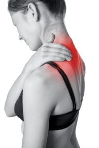 Women suffering from neck and shoulder pain.