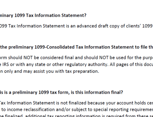 PRELIMINARY TAX FORM FAQs